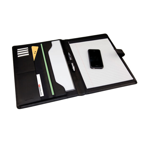 Monolith Leather Look Conference Folder PU With A4 Pad Black 2900
