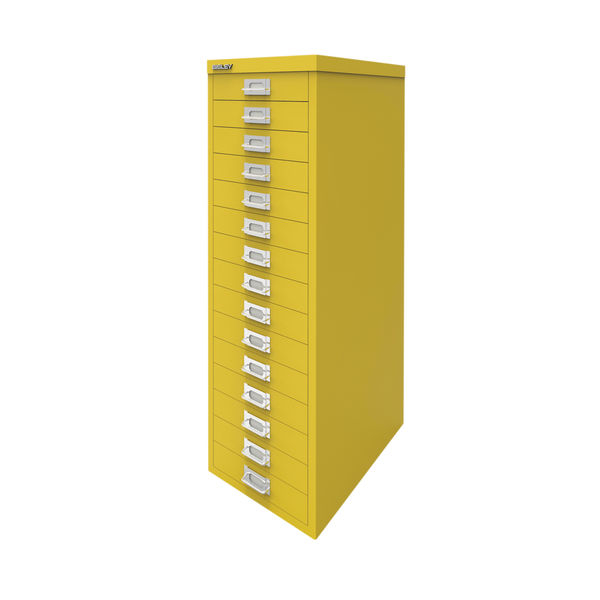 Bisley 860mm Canary Yellow 15 Drawer Cabinet - BY78745