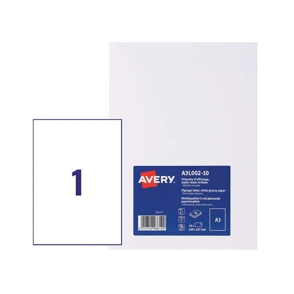 Avery White Premium A3 Display Labels (Pack of 10) - A3L002-10