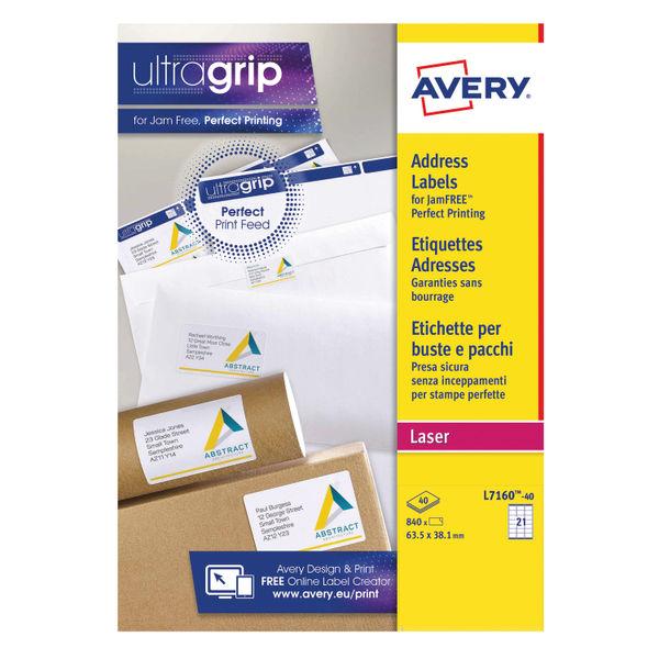 Avery 63.5 x 38.1mm Ultragrip Laser Labels, Pack of 840 | L7160-40