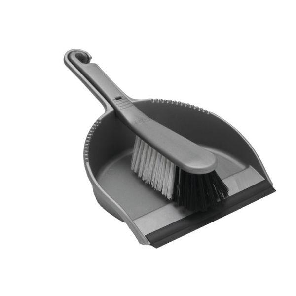 Addis Dustpan and Soft Brush Set Metallic (Serrated edge to clean brush bristles) 510390