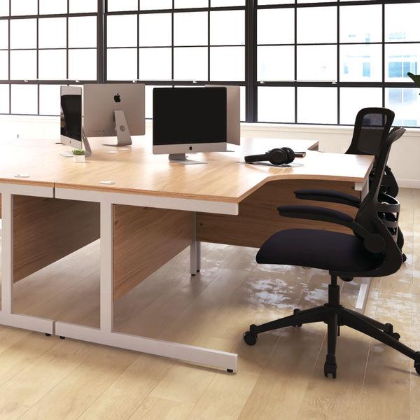 First 1600mm White/Silver Single Rectangular Desk