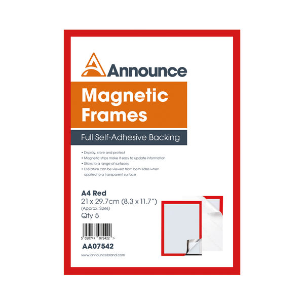 Announce Magnetic Frames A4 Red (Pack of 5) AA07542