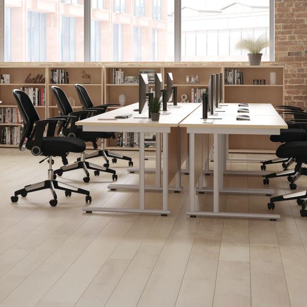 Jemini 1400x800mm Beech/Silver Cantilever Rectangular Desk