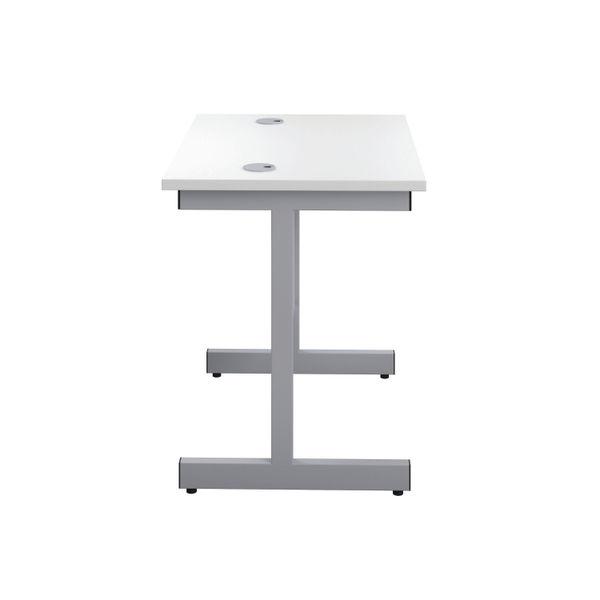 Jemini 800x600mm White/Silver Single Rectangular Desk