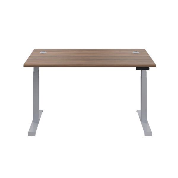 Jemini 1600mm Dark Walnut/Silver Sit Stand Desk