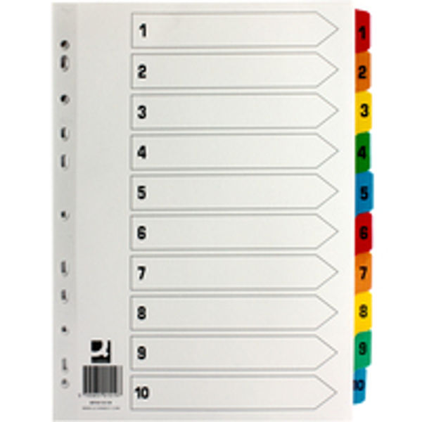 Q-Connect White A4 1-10 Multi-Punched Numbered Index Tabs - KF01519