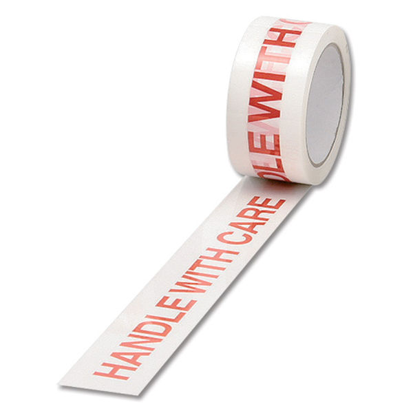 White and Red 50mm x 66m Handle with Care Tape, Pack of 6 - 70581500