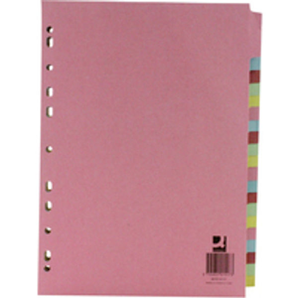 Q-Connect Multi-Coloured A4 20-Part Subject Divider - KF01517