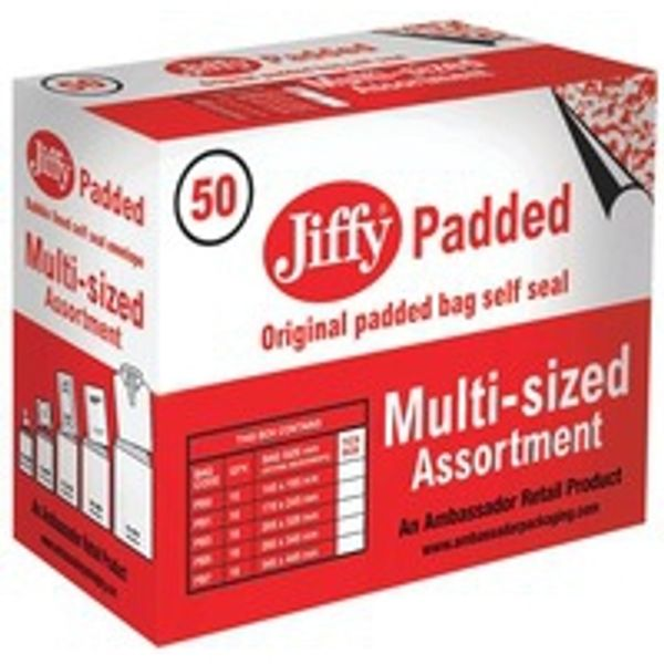 Jiffy Padded Bag, Assorted Size, Gold - Pack of 50 - 9750PBB90