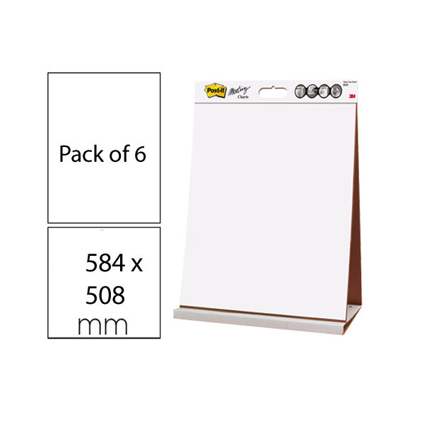 Post-it Table Top Meeting Chart Refill Pad 635 x 775mm, Pack of 6 - 3M59638