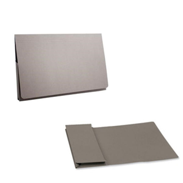 Exacompta Guildhall Full Flap Foolscap Grey Pocket Wallet (Pack of 50) PW2-GREY