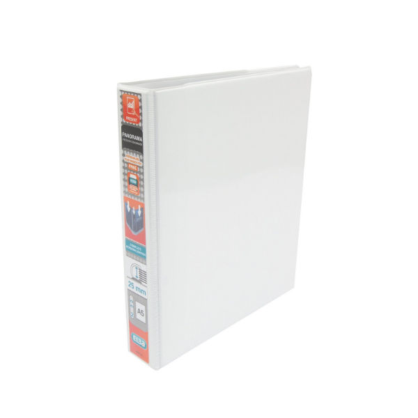 Elba Panorama White A5 Presentation 2D Ring Binder 25mm- Pack of 6 - 400008434