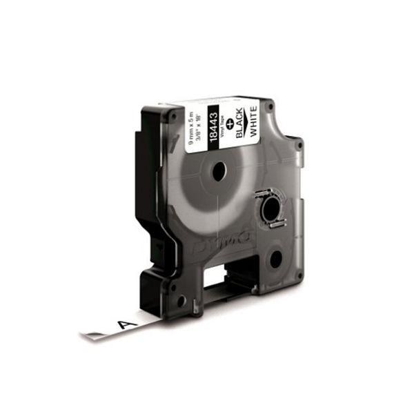 Dymo Vinyl Tape 9mm Black on White - 18443