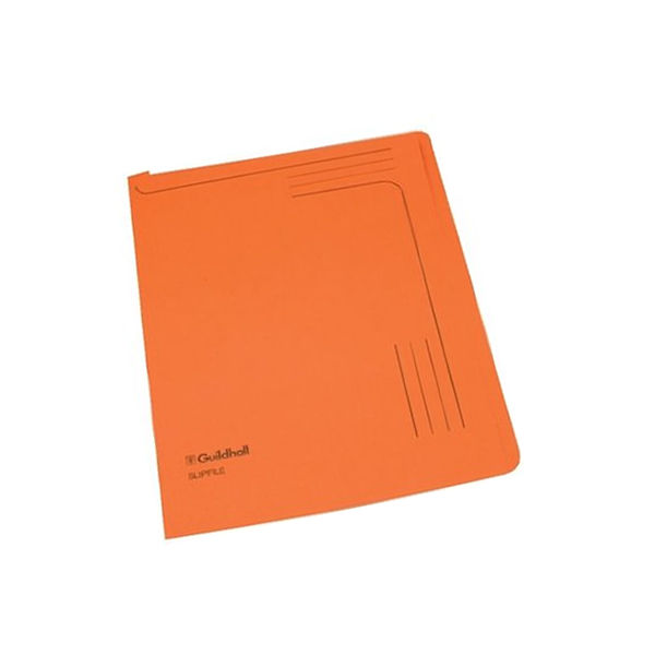 Guildhall Foolscap Orange Slip Files 230gsm - Pack of 50 - 14607