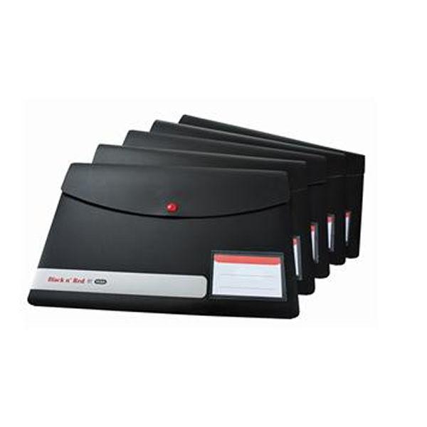 Elba Black n Red Snap Wallets A4 (Pack of 5) 400051532