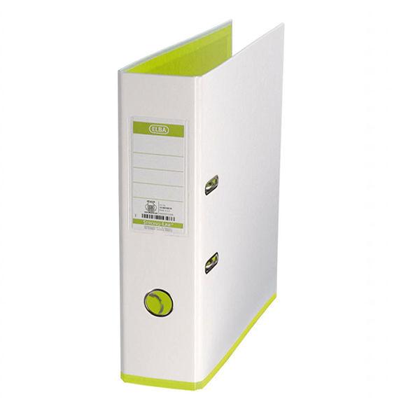 Elba Mycolour A4 White/Lime Lever Arch File 80mm - 100081032