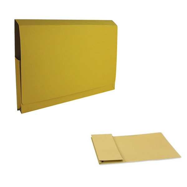 Exacompta Guildhall Full Flap Pocket Wallet Foolscap Yellow (Pack of 50) PW2-YLW