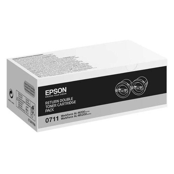 Epson S050711 Black Toner Cartridge Return Twin Pack (Pack of 2) C13S050711