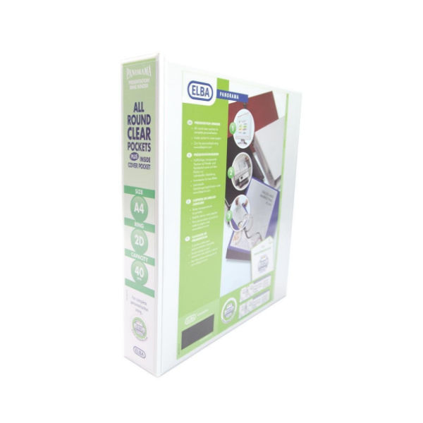 Elba Panorama White A4 2 D-Ring Binder 40mm, Pack of 6 - 400008505
