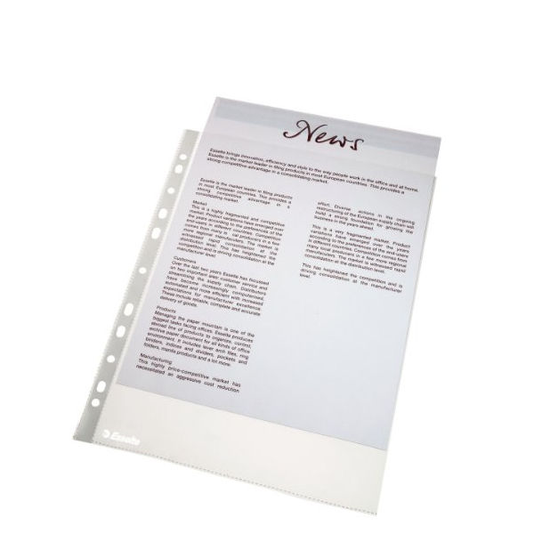 Esselte A4 Economy Plastic Punched Pockets, 38 Micron - Pack of 100 - ES56133