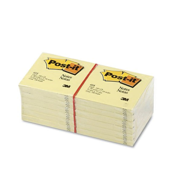 Post-it 76 x 76mm Canary Yellow Notes, Pack of 12 - 654