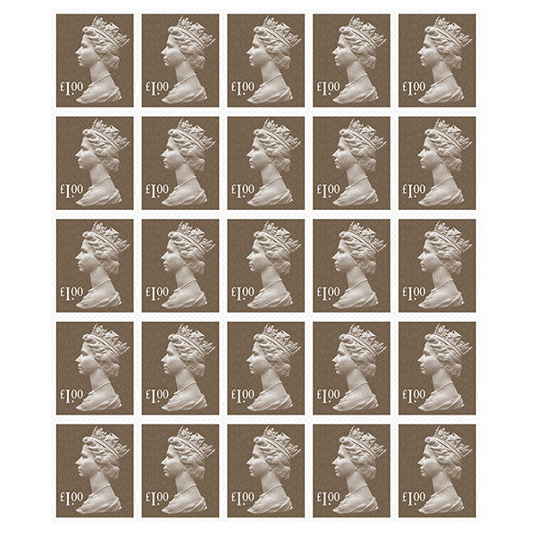 Royal Mail £1 Postage Stamps x 25 Pack (Self Adhesive Stamp Sheet)