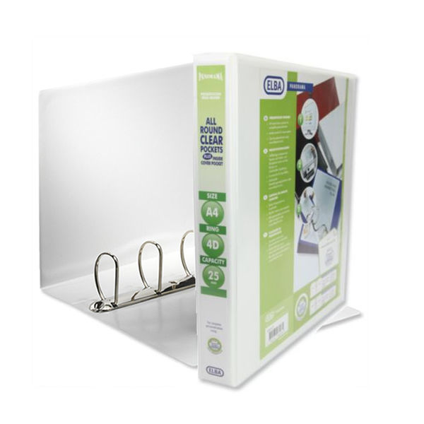 Elba Panorama White A4 4 D-Ring Binder 25mm, Pack of 10 - 128207