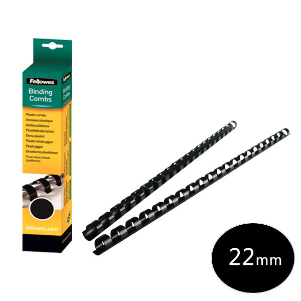 Fellowes A4 Black 22mm Binding Combs, Pack of 50 - 53481