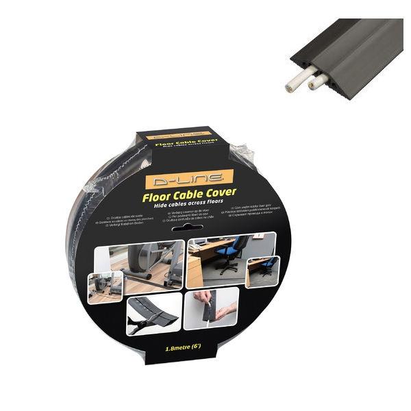D-Line Black Light Duty Floor Cable Cover 80mm Wide 9m Long CC-1/9M