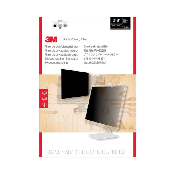 3M Black Privacy Filter For Desktops 21.5in Widescreen 16:9 PF21.5W9