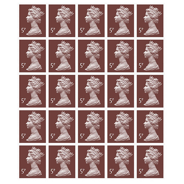 Royal Mail 5p Postage Stamps x 25 Pack (Self Adhesive Stamp Sheet)