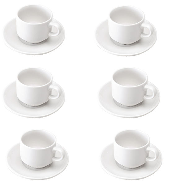 White Porcelain Cup and Saucers, Pack of 6 - 305091