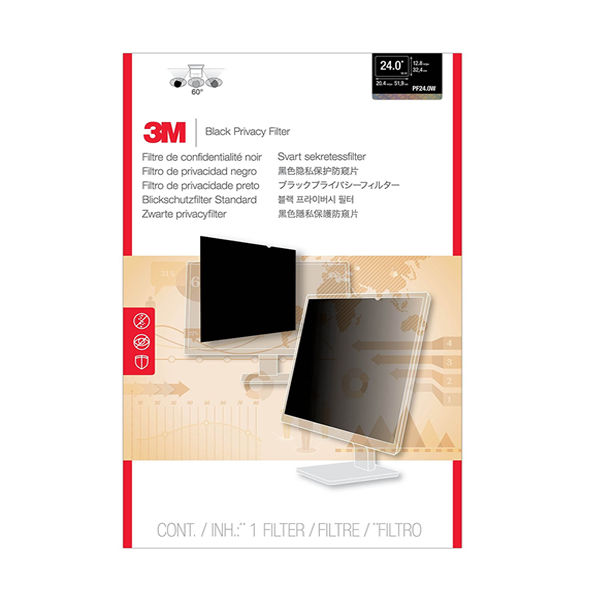 3M 24in Widescreen 16:10 Desktop Framed Privacy Filter PF324W