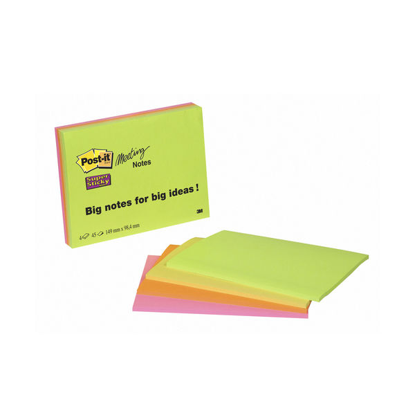 Post-it 149 x 98mm Neon Super Sticky Meeting Notes, Pack of 4 | 6445-4SS