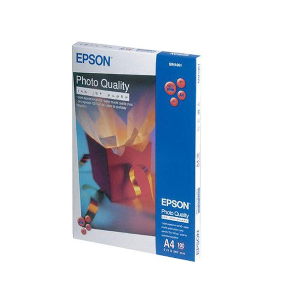 Epson White A4 Photo Inkjet Paper, 102gsm - 100 Sheets - C13S041061