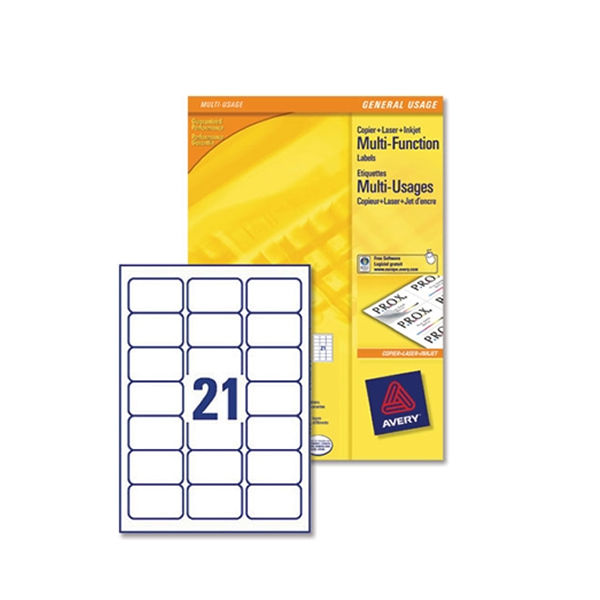 Avery White 63.5 x 38.1mm Multi-Purpose Labels, Pack of 2100 - 3652