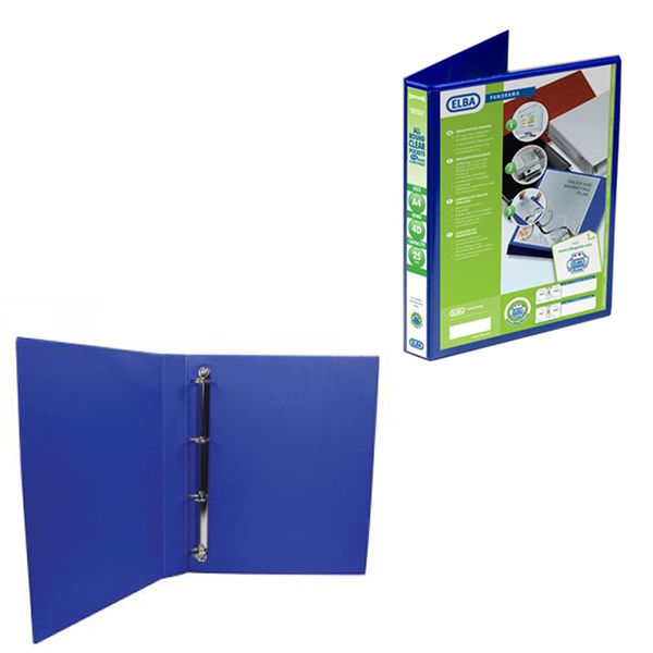 Elba Panorama Blue A4 Presentation 4 D-Ring Binders 25mm - Pack of 6 - 400008415