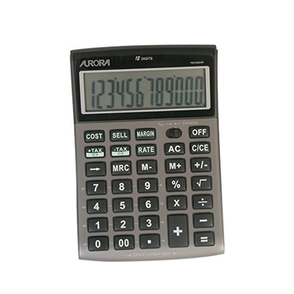Aurora DT661 Semi Desktop Calculator, 12 Digit Display - DT661