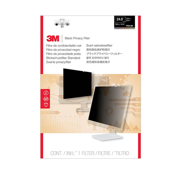 3M Black Privacy Filter For Desktops 24in Widescreen 16:10 PF24.0W