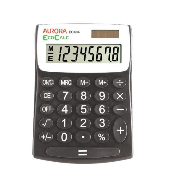 Aurora Black /White 12-Digit Semi-Desk Calculator EC404