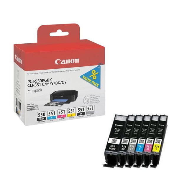 Canon PGI-550 and CLI-551 Ink Cartridge Multipack, Pack of 6 Inks - 6496B005