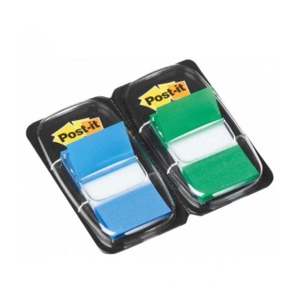 Post-It 25mm Green/Blue Index Tabs Dual Pack, Pack of 100 - 3M59869