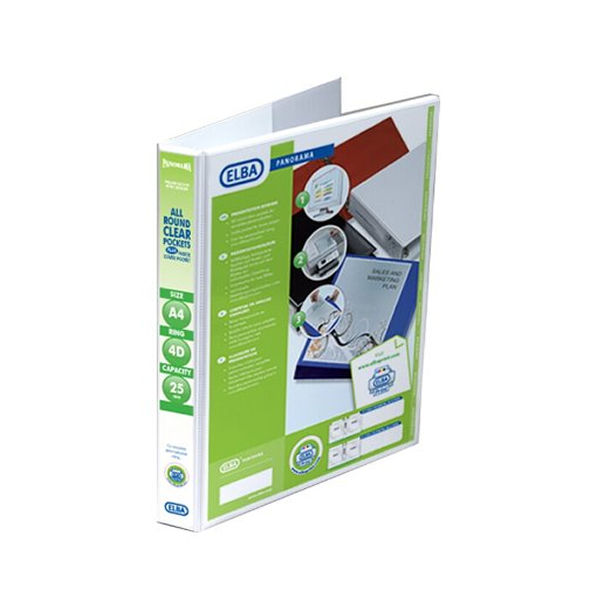 Elba Panorama White A4 Presentation 2D Ring Binder 25mm - Pack of 6 - 400008413