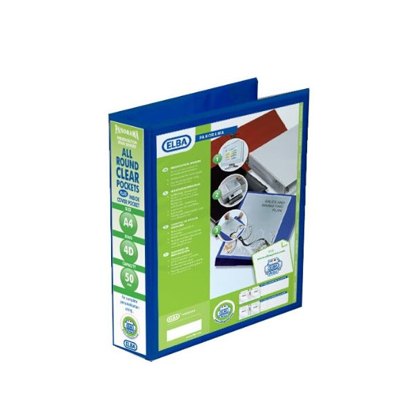 Elba Panorama 50mm 4 D-Ring Presentation Binder A4 Blue (Pack of 4) 400008431