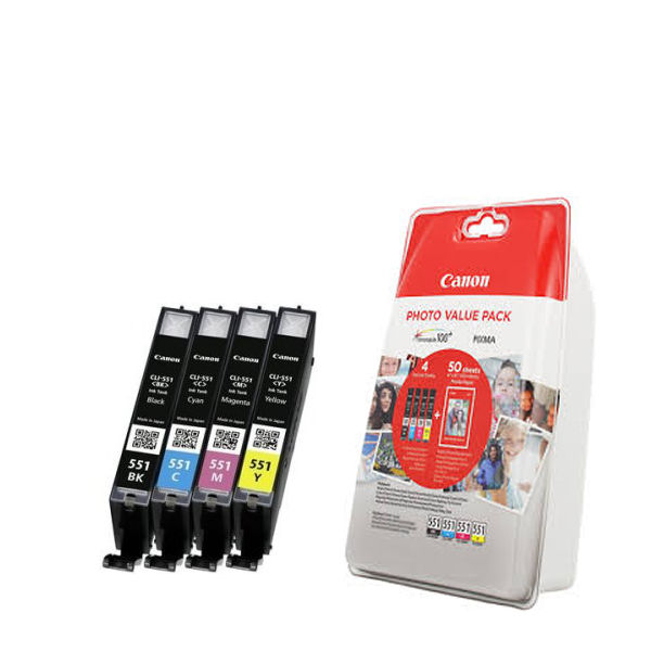 Canon CLI-551 Black and Colour Ink Photo Value Pack - CLI-551