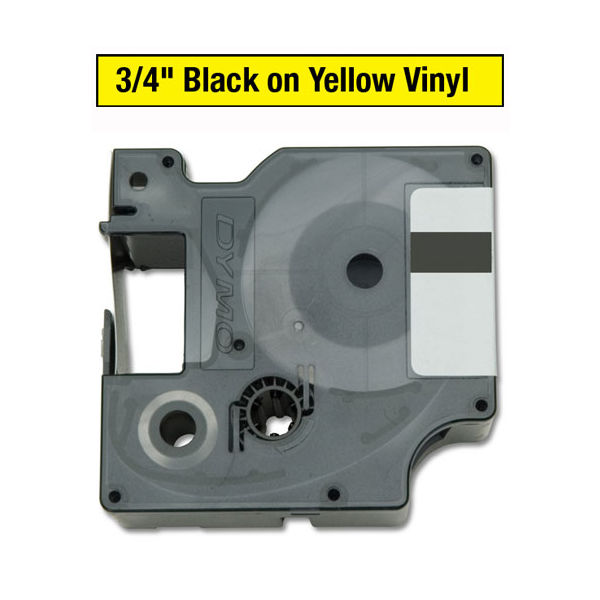 Dymo Black on Yellow 19mm x 5.5m Rhino Vinyl Tape - S0718470
