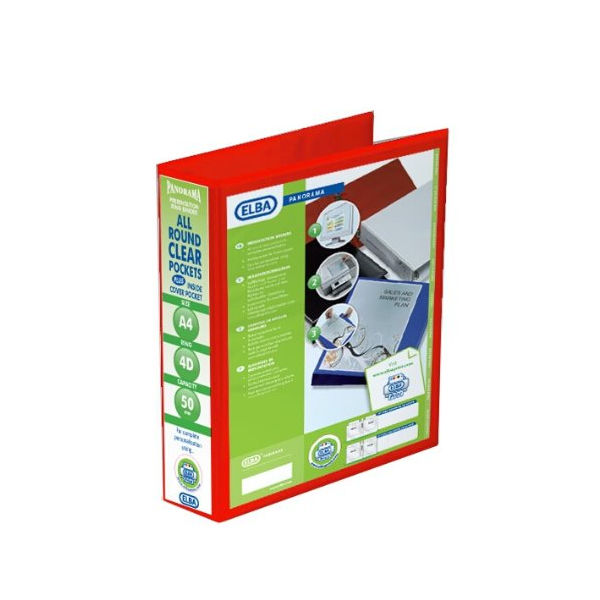Elba Panorama  50mm 4 D-Ring Presentation Binder A4 Red (Pack of 4) 400008432