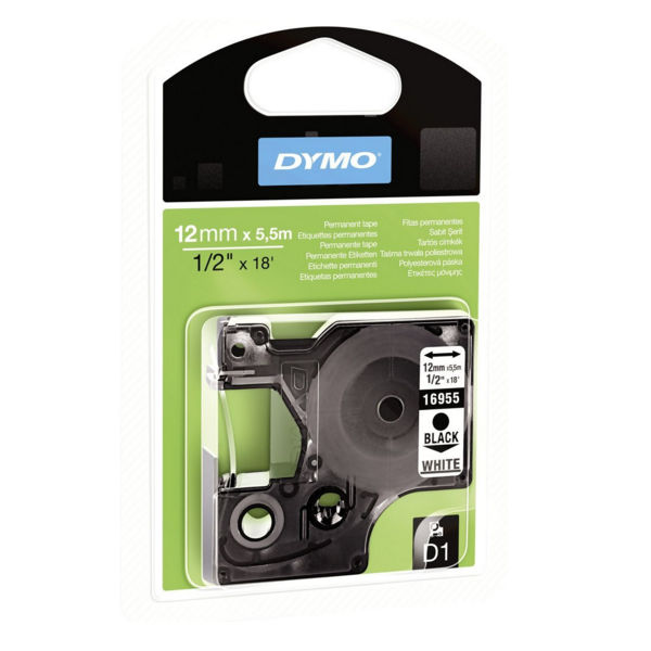 Dymo D1 Permanent Label Tape Black on White - 16959 / S0718060