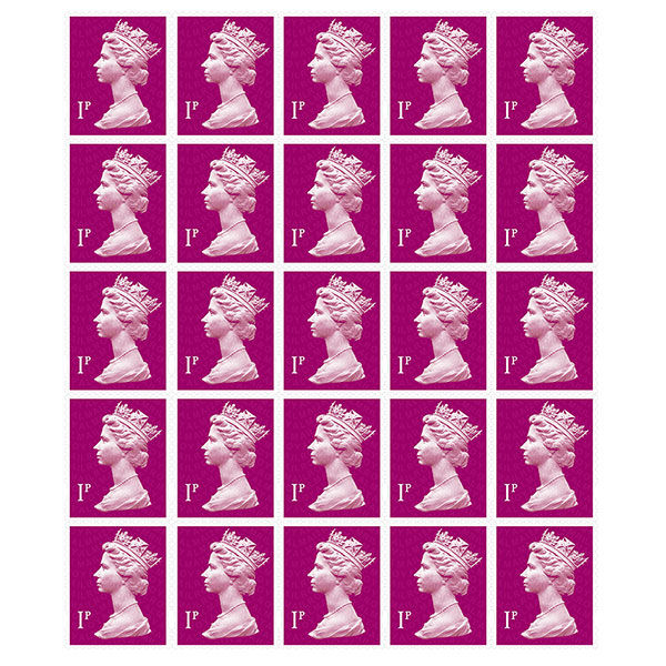 Royal Mail 1p Postage Stamps x 25 Pack (Self Adhesive Stamp Sheet)